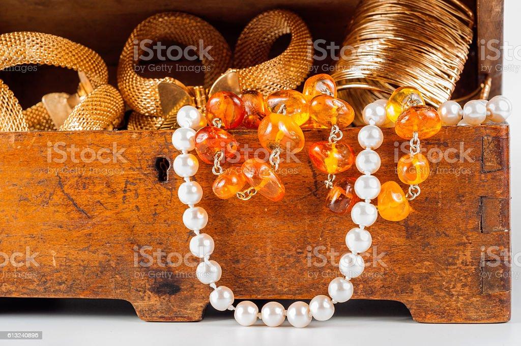 jewelry box on white background stock photo
