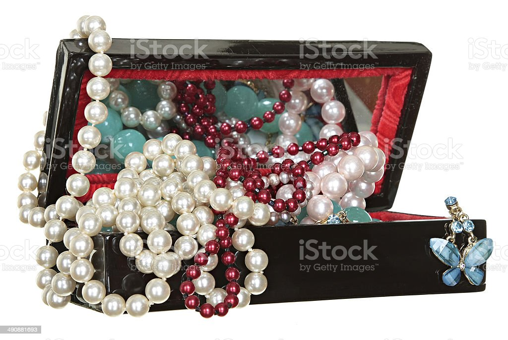 Jewelry box with beads, pearls and jewellery isolated on white royalty-free stock photo