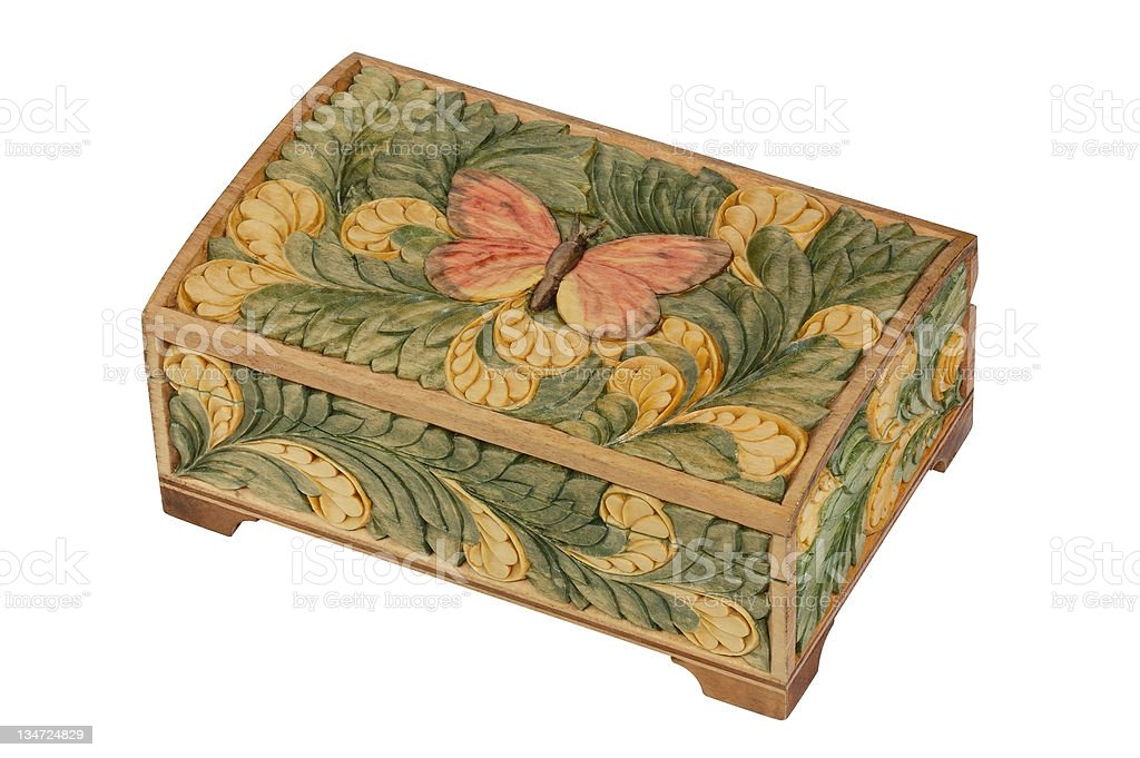 Jewelry box with butterfly stock photo