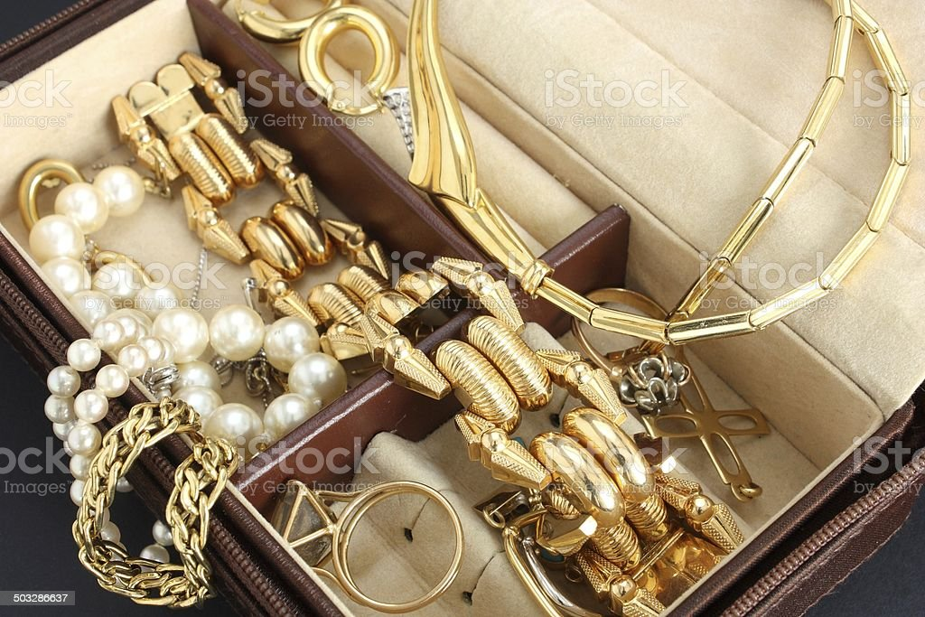 Jewelry box with jewelry stock photo