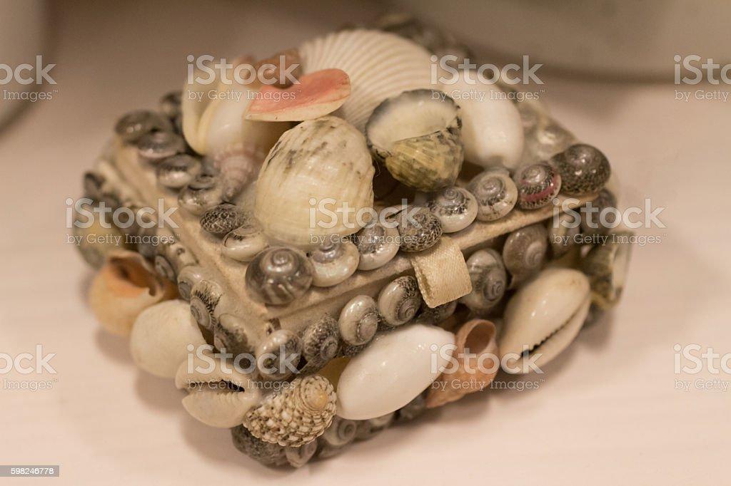 Jewelry box with shells stock photo
