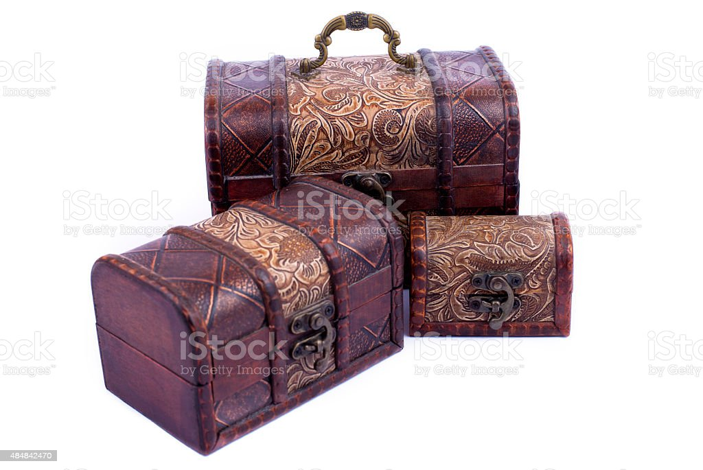 Jewelry Boxes,Handmade boxes, Four Treasure Chests stock photo