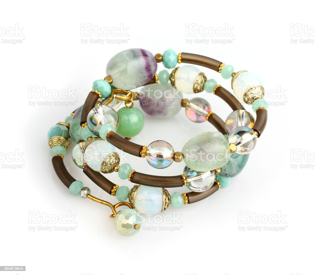 jewelry bracelet with colorful stones on white stock photo