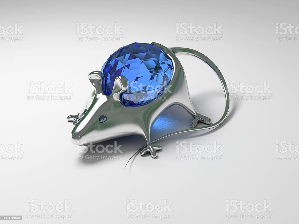 Jewelry decoration mouse with diamond stock photo