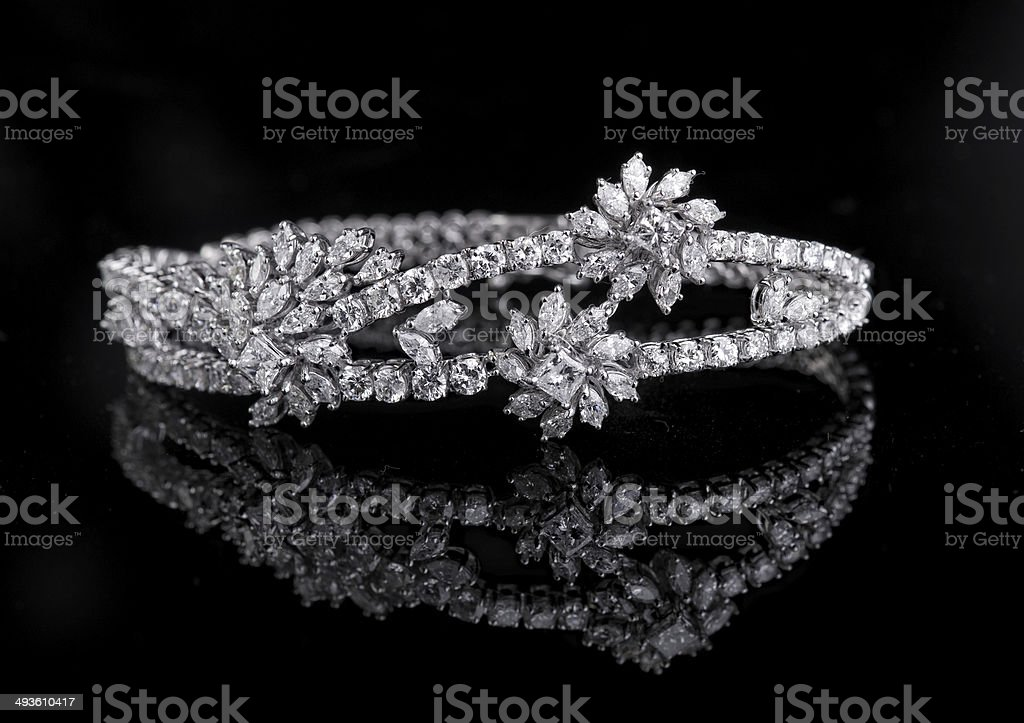 Jewelry diamond bracelet on a black background stock photo