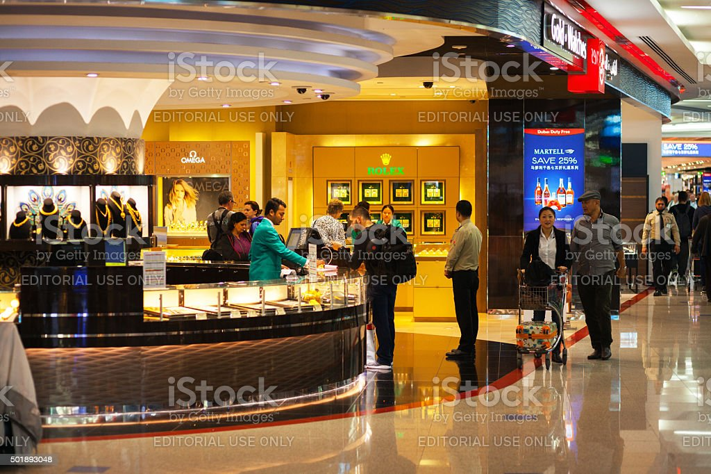 Jewelry duty free stores in airport Dubai stock photo