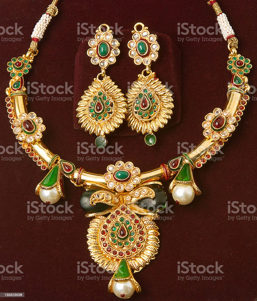 Jewelry - Earrings and necklace royalty-free stock photo