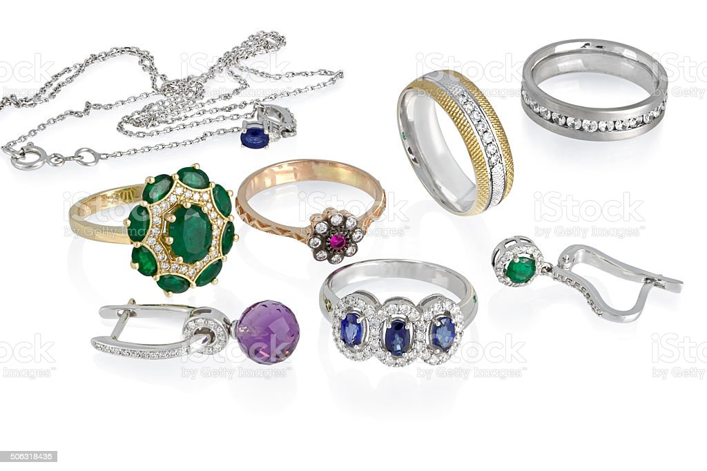 Jewelry group isolated stock photo