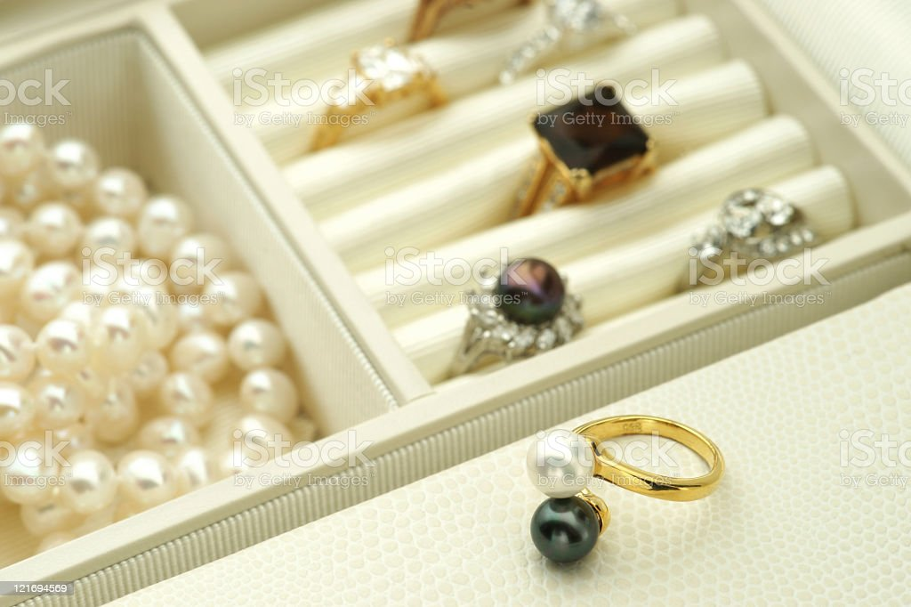 Jewelry in a box stock photo