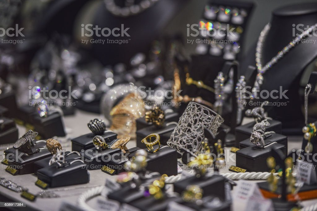 Jewelry in a shop, close up image stock photo