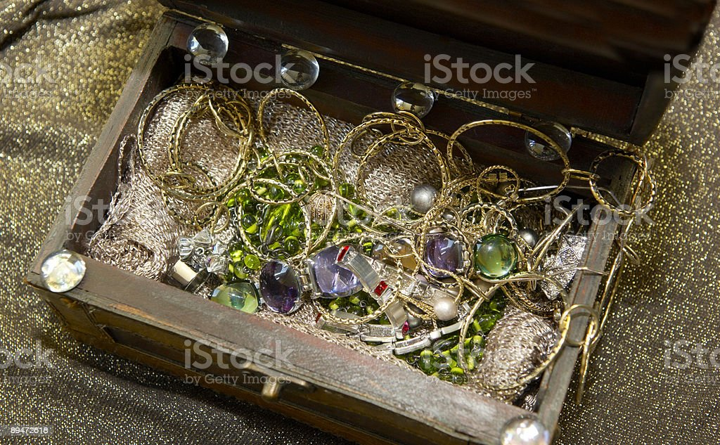 Jewelry in the treaure chest royalty-free stock photo