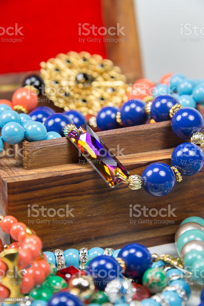 Jewelry in Wooden Box stock photo