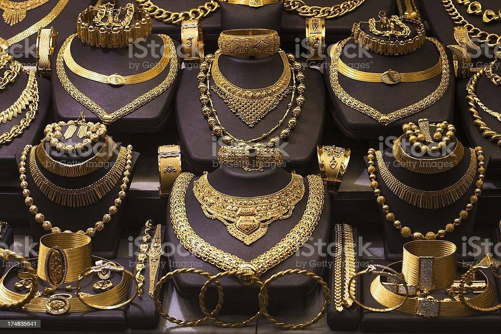 Jewelry market. Gold royalty-free stock photo
