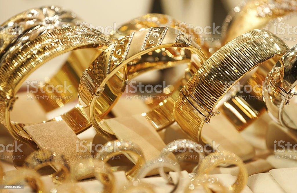Jewelry market. Gold stock photo