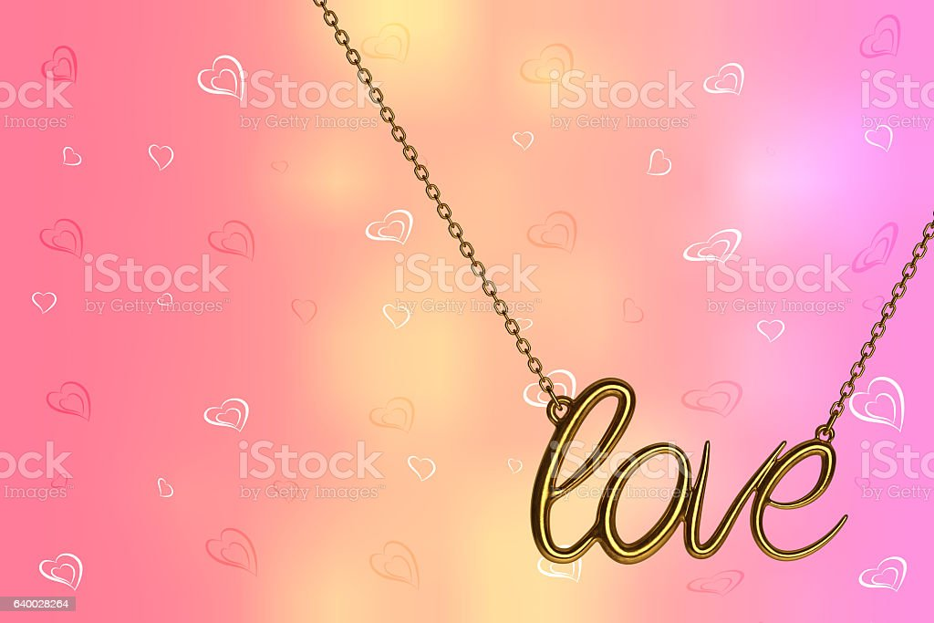 Jewelry Necklace with Love Sign. 3d Rendering stock photo