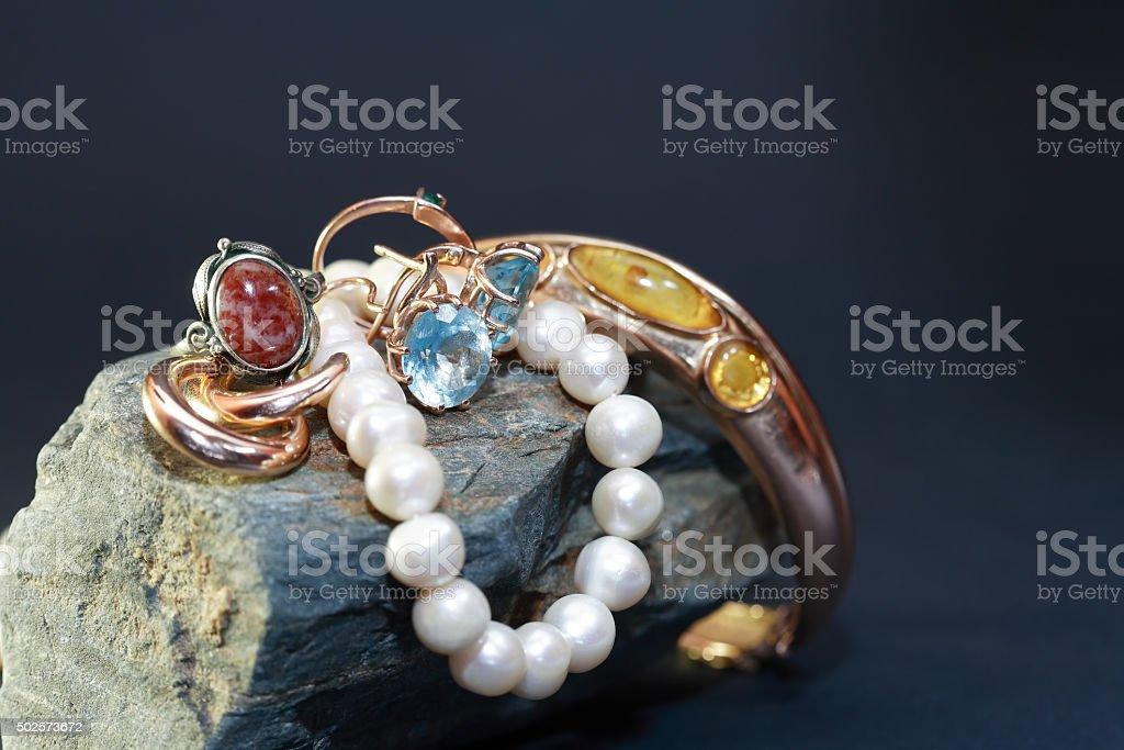 Jewelry On Stone stock photo