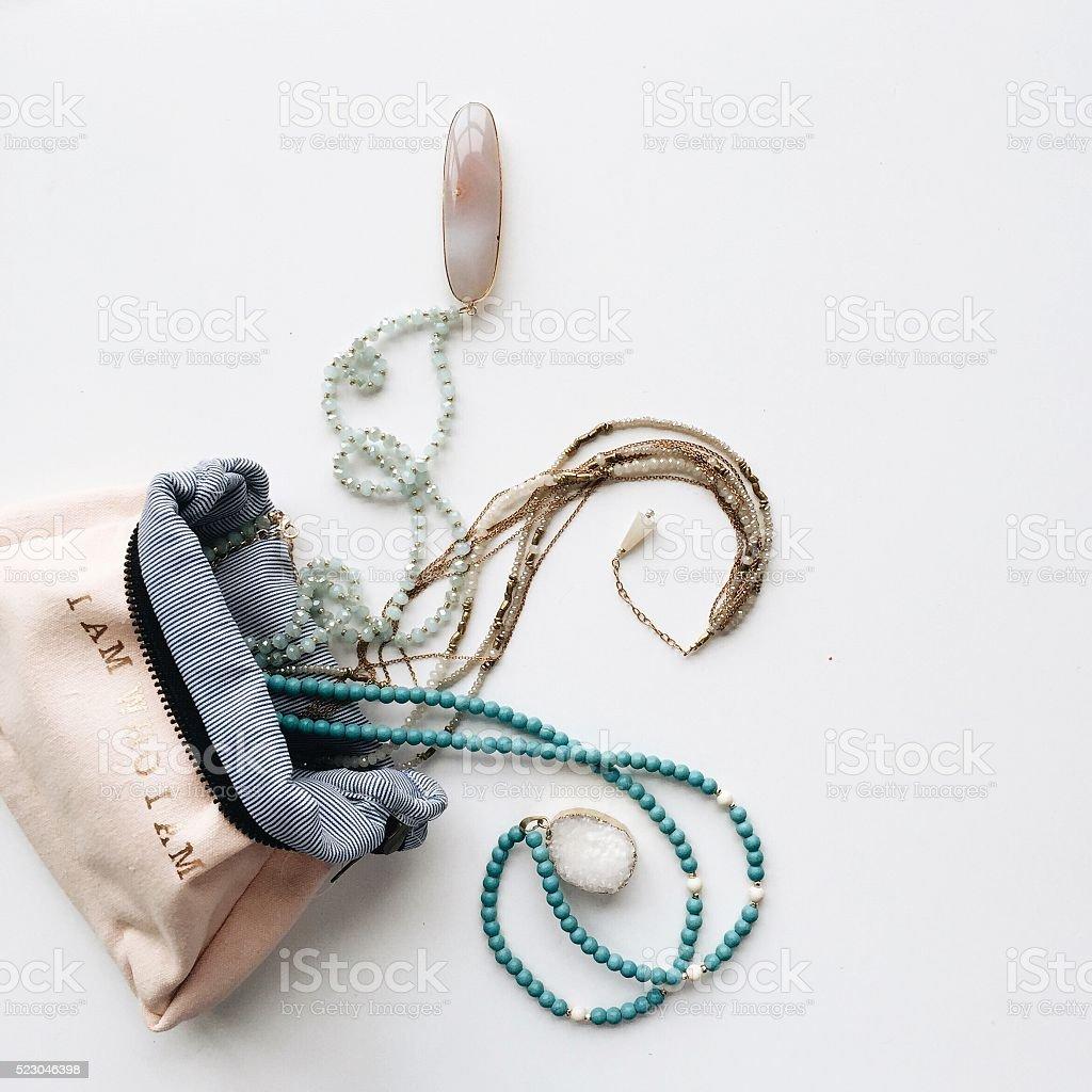 Jewelry on White Background stock photo