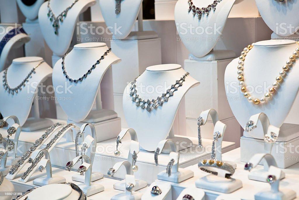 Jewelry on window display stock photo