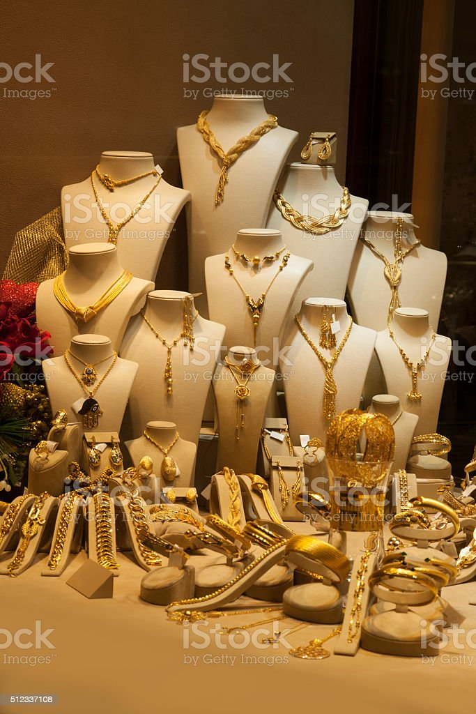 Jewelry on window display stock photo