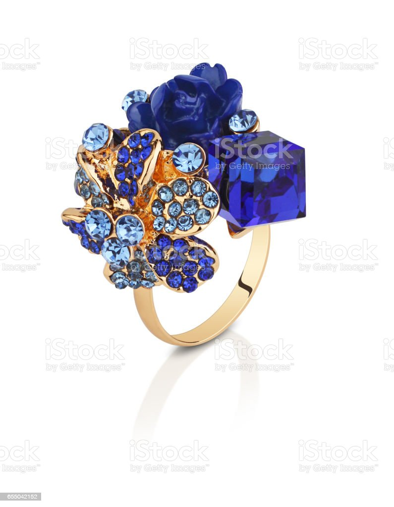 Jewelry ring with blue gems flower isolated on white, clipping path stock photo