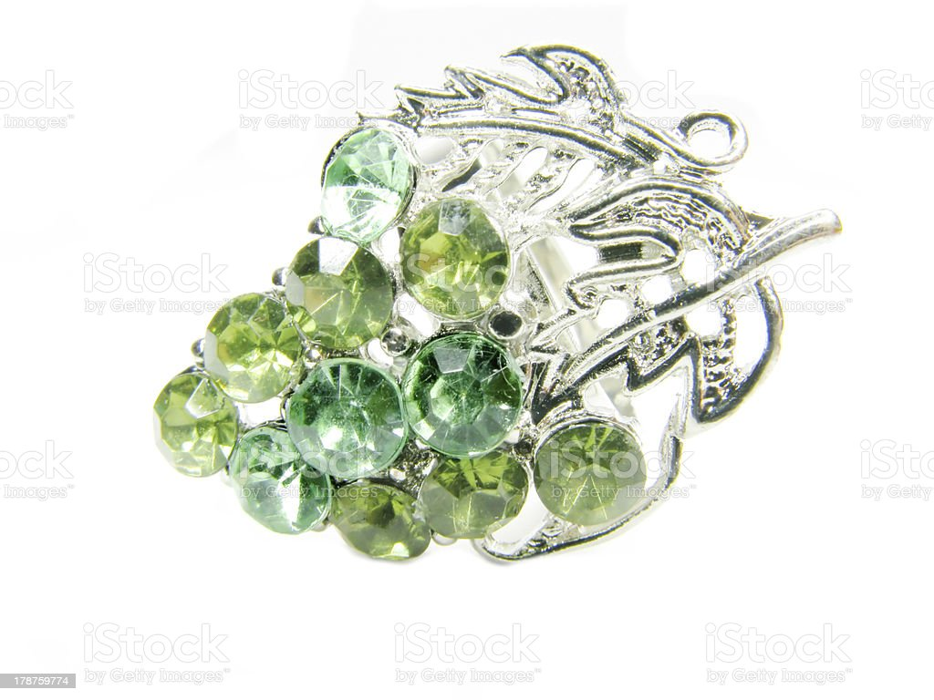 jewelry ring with bright green crystals royalty-free stock photo