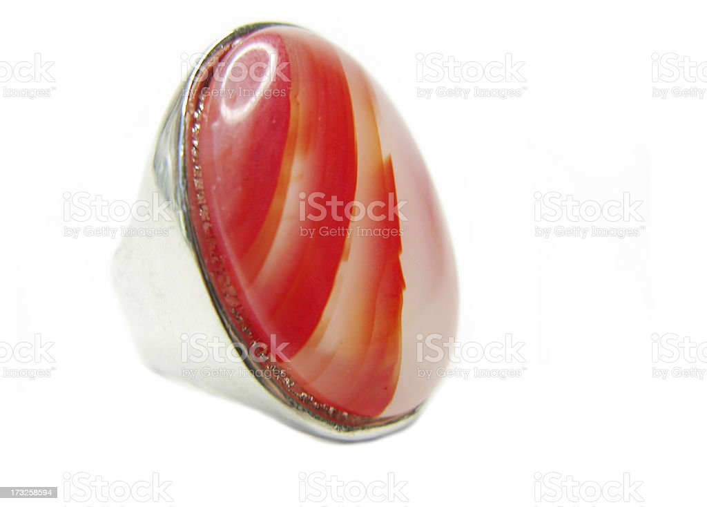 jewelry ring with bright red carnelian crystal royalty-free stock photo