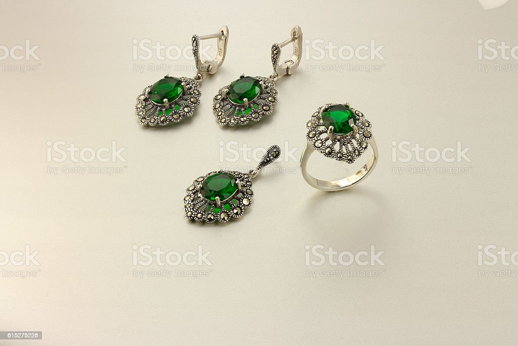 Jewelry set with emerald stock photo