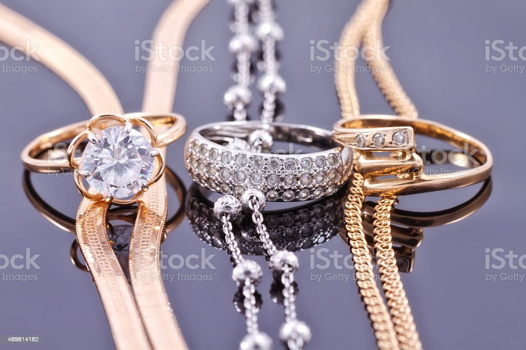 Jewelry sets of gold and silver stock photo