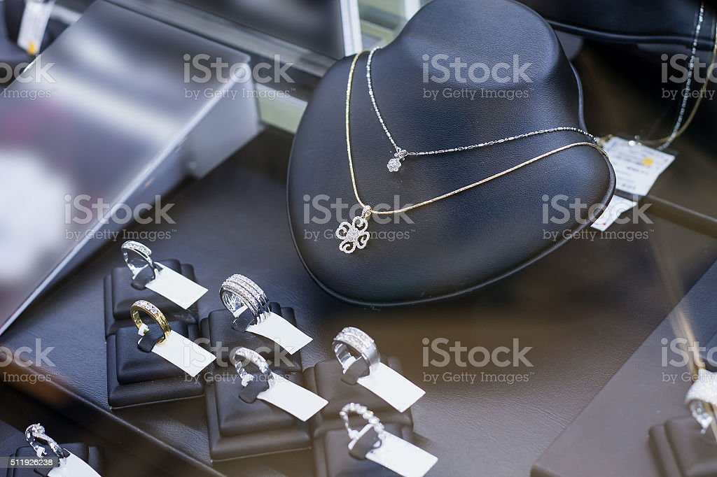 Jewelry shop window display stock photo