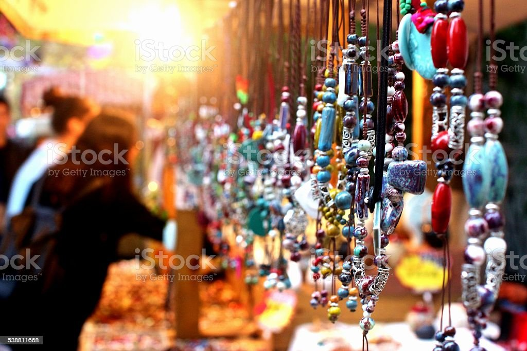 Jewelry stall at a night market stock photo