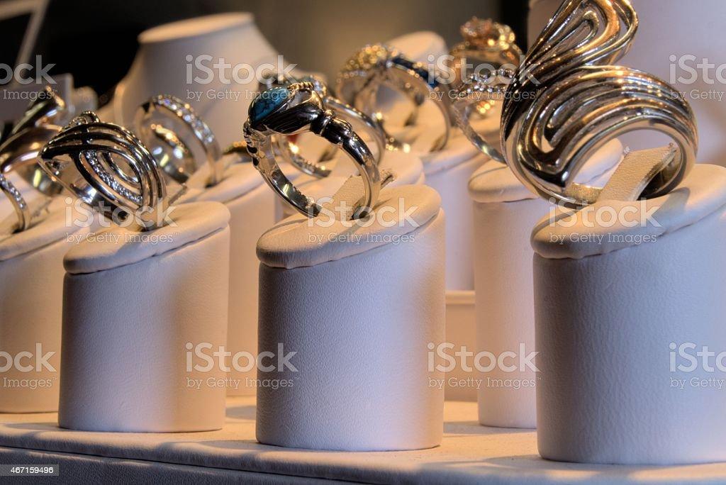Jewelry store display stock photo