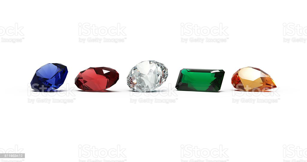 Jewels, Five Gems in Line stock photo