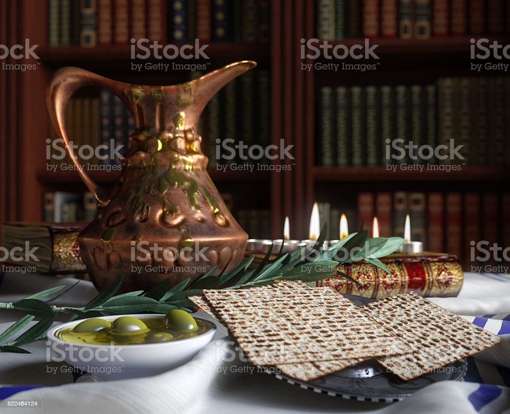 Jewish celebrate pesach passover with books, olive and pitcher stock photo