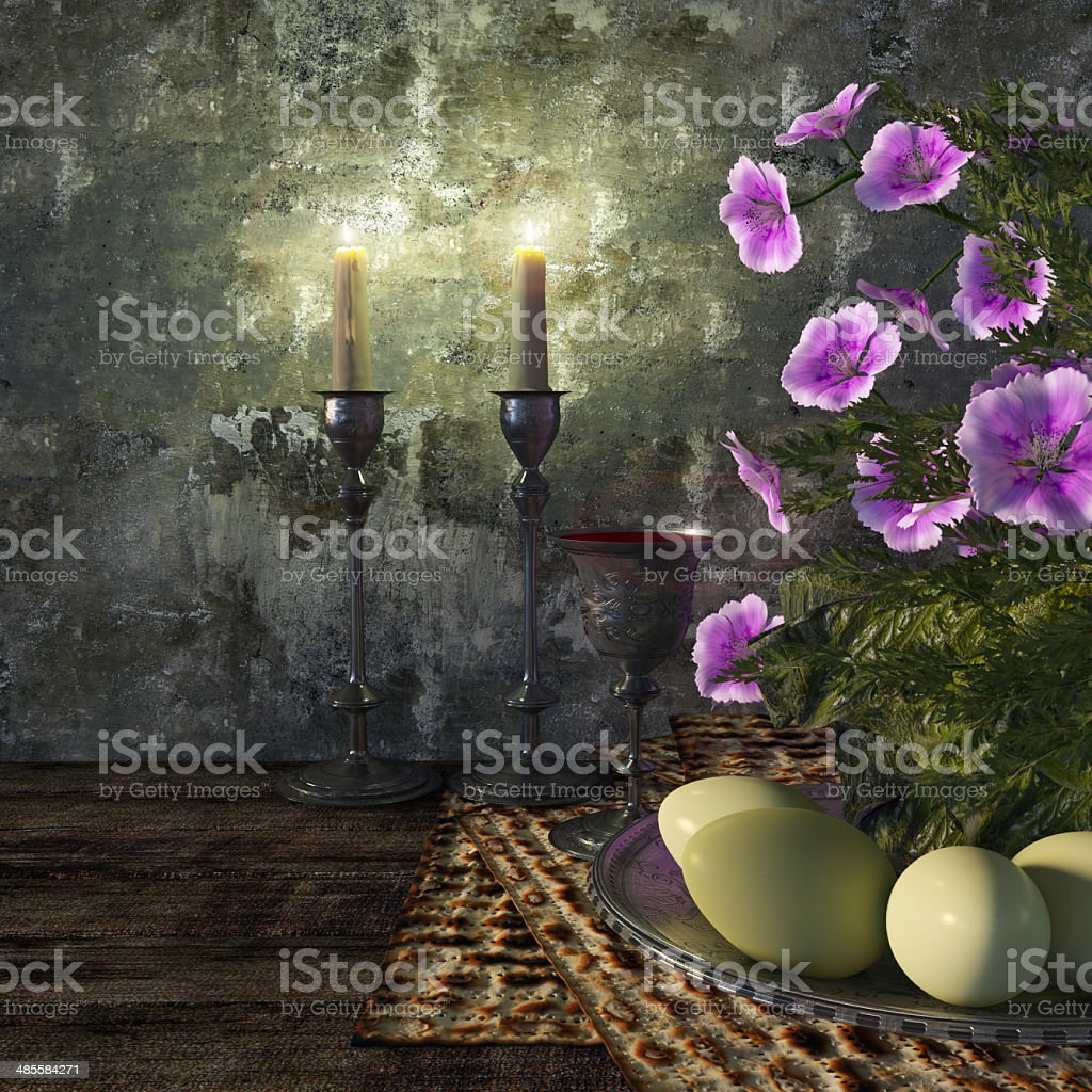 Jewish celebrate pesach passover with eggs, matzo and flowers stock photo