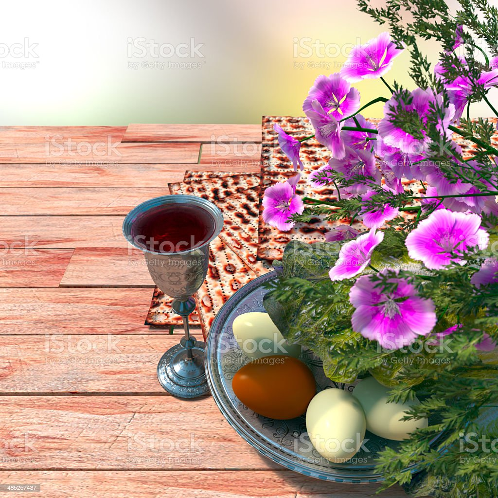 Jewish celebrate pesach passover with wine, eggs, matzo and flowers royalty-free stock photo