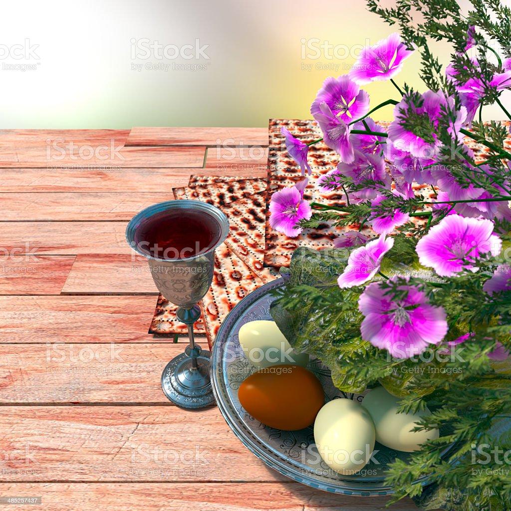 Jewish celebrate pesach passover with wine, eggs, matzo and flowers stock photo