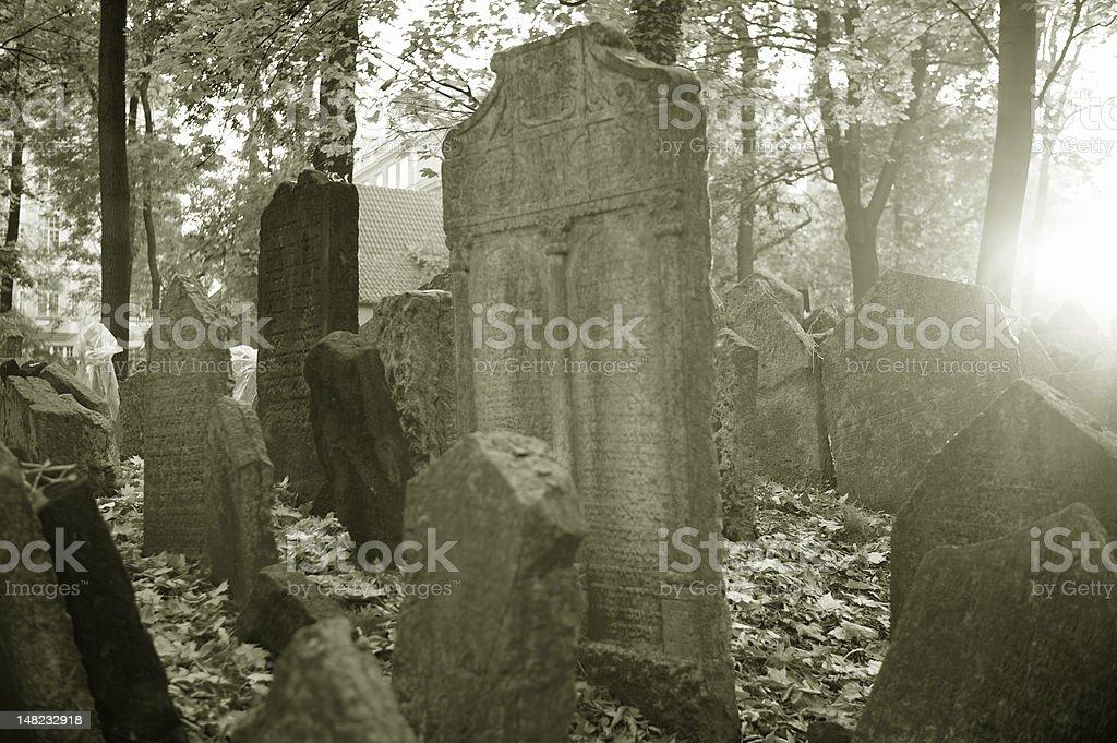 Jewish cementary in Prague royalty-free stock photo