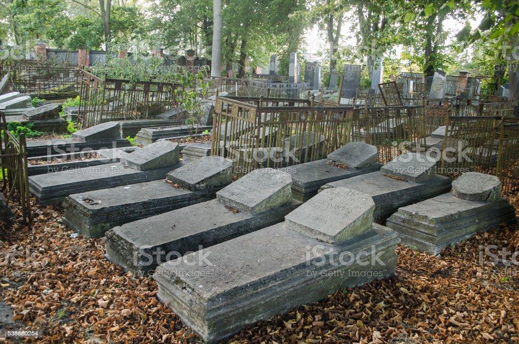 Jewish cemetery in Liepaja, Latvia stock photo