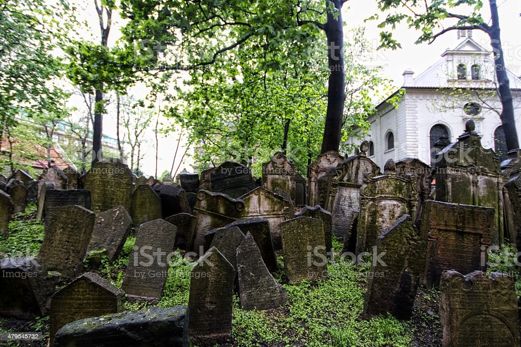 Jewish cemetery in Prague stock photo