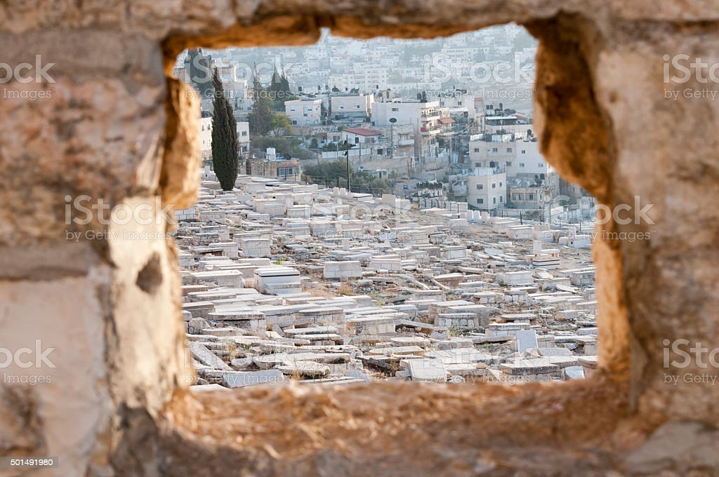 Jewish cemetery on Mount of Olives stock photo