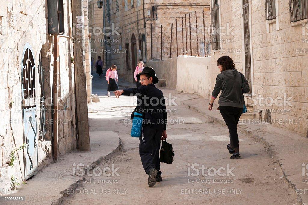 Jewish children in Safed, Israel stock photo