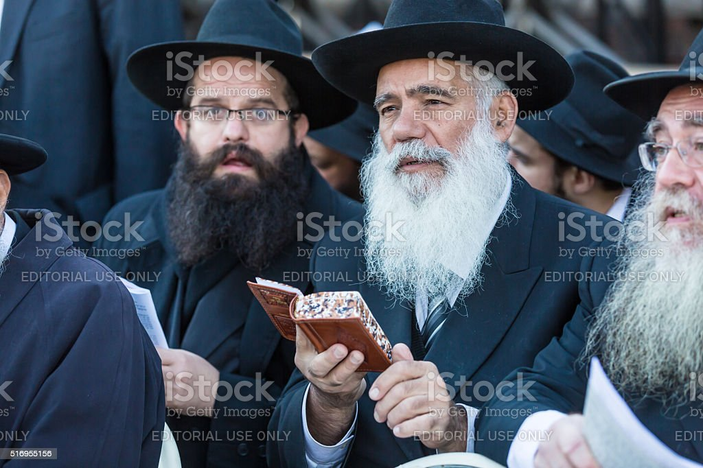 Jewish emissaries at The Kinus Hashluchim stock photo