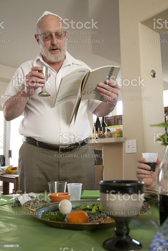 Jewish Family at Passover Seder stock photo