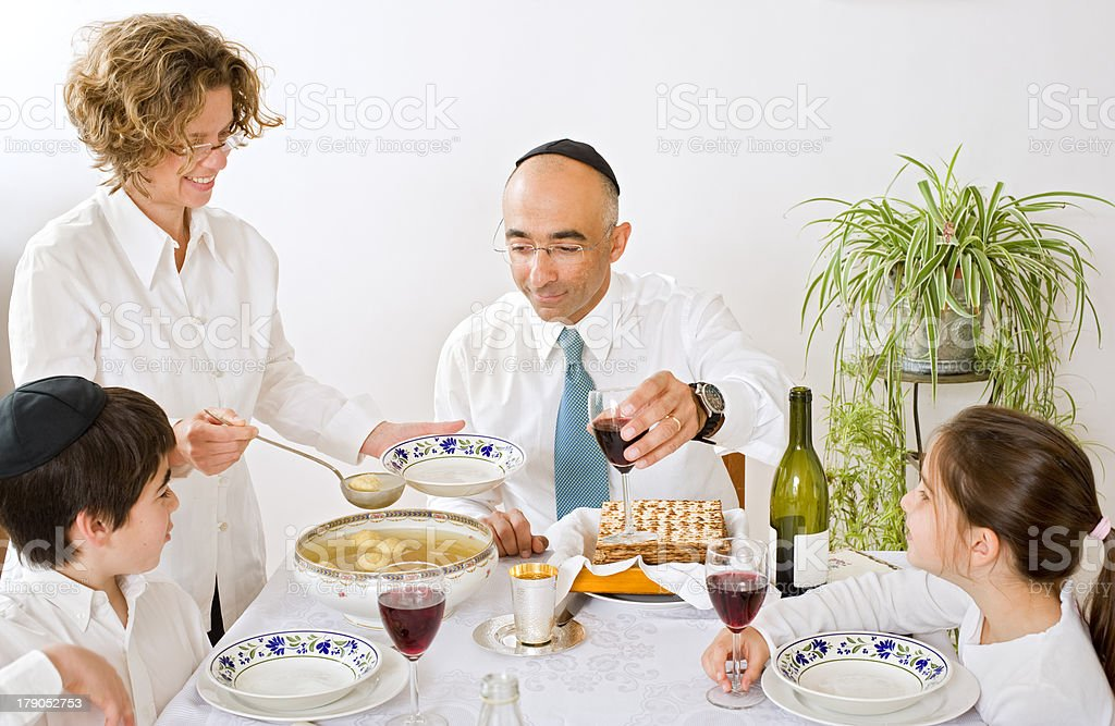 jewish family celebrating passover royalty-free stock photo
