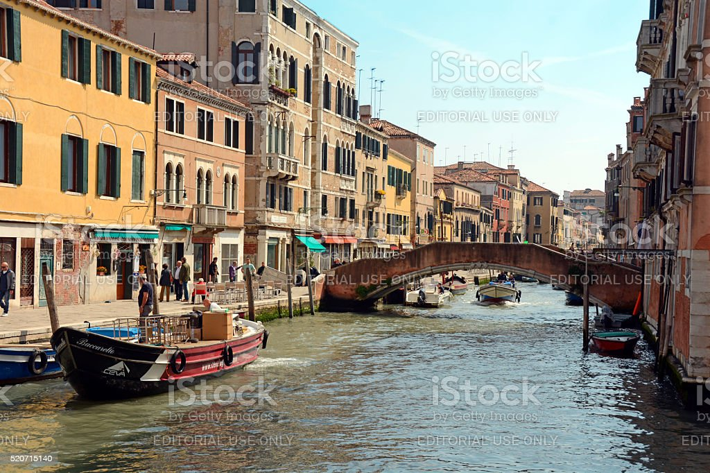Jewish Ghetto canal near entrance in Venice in the spring stock photo