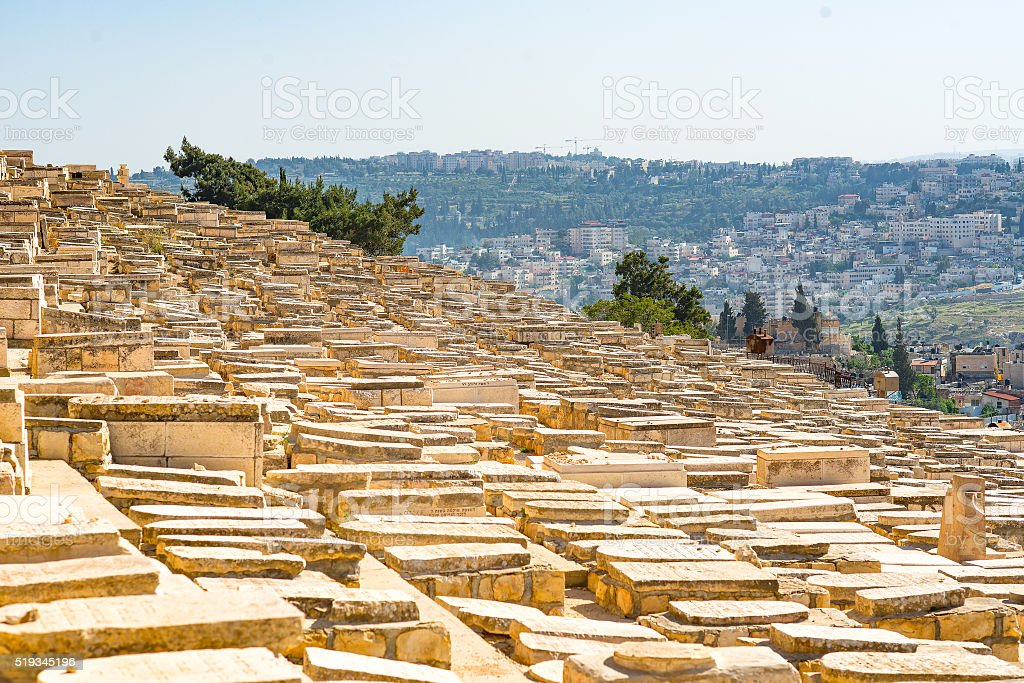 Jewish graves in Jerusalem stock photo