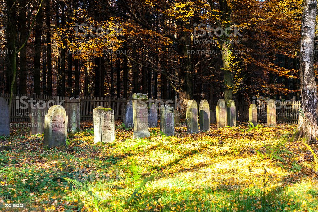 jewish graves in the forest near Kronberg stock photo