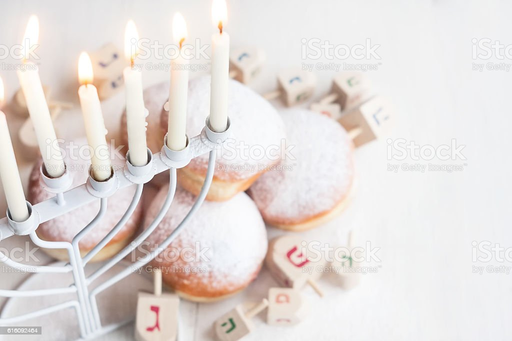 Jewish holiday Hannukah background stock photo