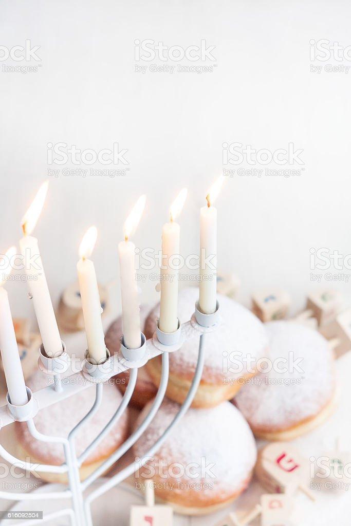 Jewish holiday Hannukah background stock photo