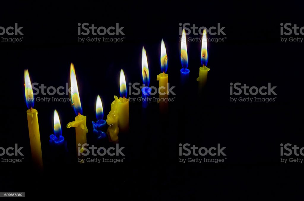 Jewish holiday hannukah with menorah traditional stock photo